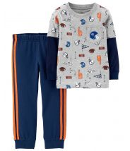 2-Piece Layered-Look Sports Tee & French Terry Jogger Set
