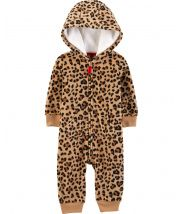 Cheetah Hooded Fleece Jumpsuit
