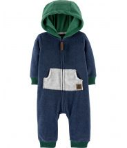 Zip-Up Hooded Fleece Jumpsuit