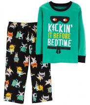 2-Piece Monster Snug Fit Cotton & Fleece PJs