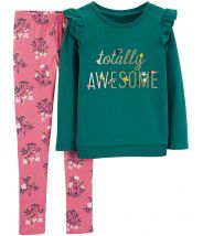 2-Piece Totally Awesome Tee & Floral Legging Set