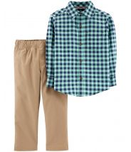 2-Piece Gingham Flannel & Canvas Pant Set