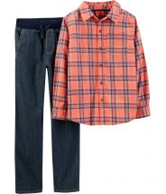 2-Piece Plaid Flannel & Pull-On Jeans Set