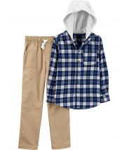 2-Piece Hooded Twill Flannel Top & Khaki Pant Set