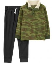 2-Piece Camo Fleece Pullover & Jogger Set
