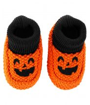 Halloween Pumpkin Knit Booties