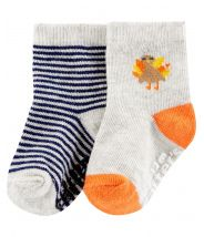 2-Pack Thanksgiving Turkey Crew Socks