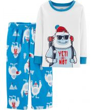 2-Piece Yeti Cotton &  Fleece PJs