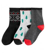 3-Pack Cable Knit Christmas Socks