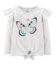 Sequined Butterfly Tie Waist Tee