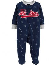 Baseball Zip-Up Cotton Sleep & Play