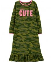 Super Cute Camo Fleece Sleep Gown