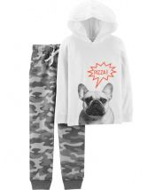 2-Piece French Bulldog Hoodie & Camo Jogger Set