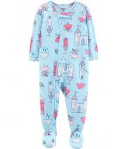 1-Piece Castle Footed Poly PJs