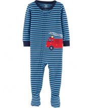 1-Piece Firetruck Footed Snug Fit Cotton PJs