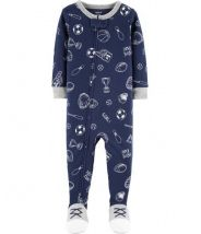 1-Piece Sports Footed Snug Fit Cotton PJs
