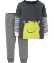2-Piece Monster Layered-Look Tee & French Terry Short Set