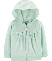 Ruffle Zip-Up French Terry Hoodie