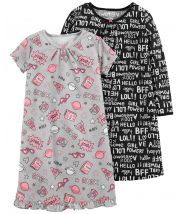 2-Pack Graphic Sleep Gowns