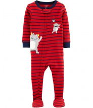 1-Piece Monster Baseball Snug Fit Cotton Footie PJs