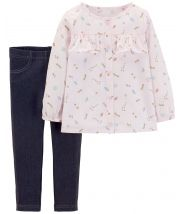 2-Piece Space Button-Front & Jegging Set