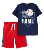 2-Piece Baseball Tee & Mesh Short Set
