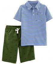 2-Piece Striped Polo & Poplin Short Set