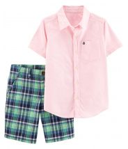 2-Piece Oxford Button-Front & Plaid Short Set