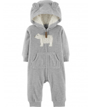 Zip-Up Polar Bear Hooded Jumpsuit