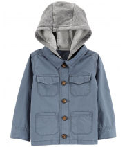 Hooded Button-Front Jacket