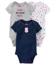 3-Pack Owl Certified Organic Bodysuits