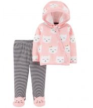 2-Piece Side-Snap Cardigan & Footed Pant Set